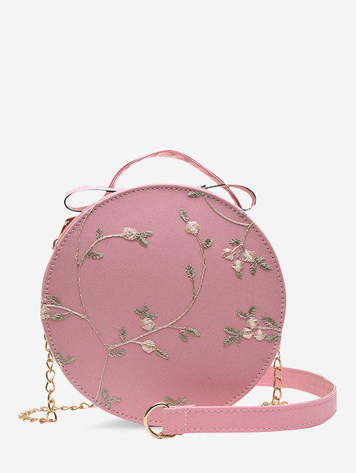 Lace Embroidery Flower Crossbody Canteen Bag - LIGHT PINK