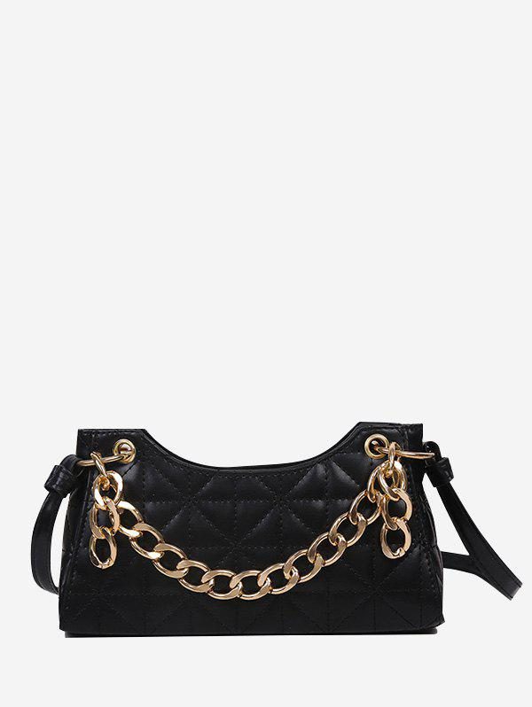 Quilted Chain Shoulder Bag - BLACK