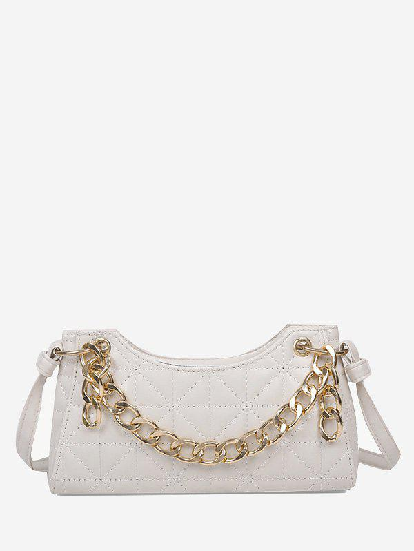 Quilted Chain Shoulder Bag - WHITE
