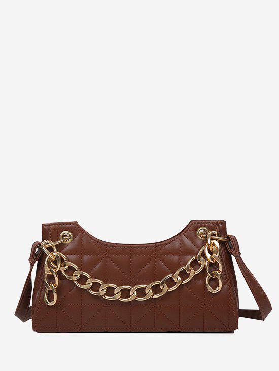 Quilted Chain Shoulder Bag - BROWN