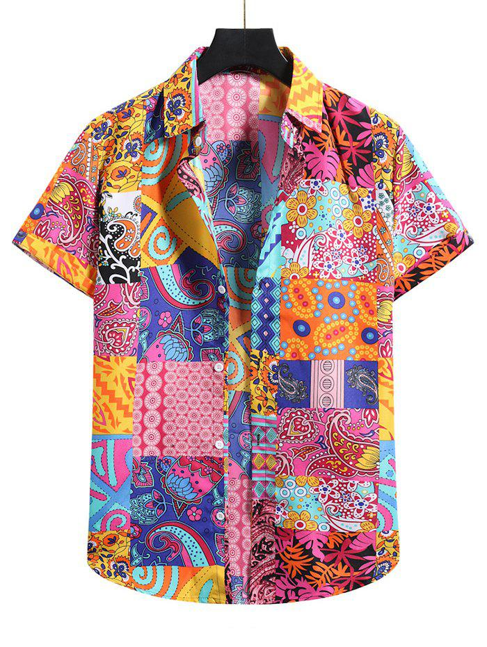 Paisley Floral Patchwork Short Sleeve Shirt - multicolor B S