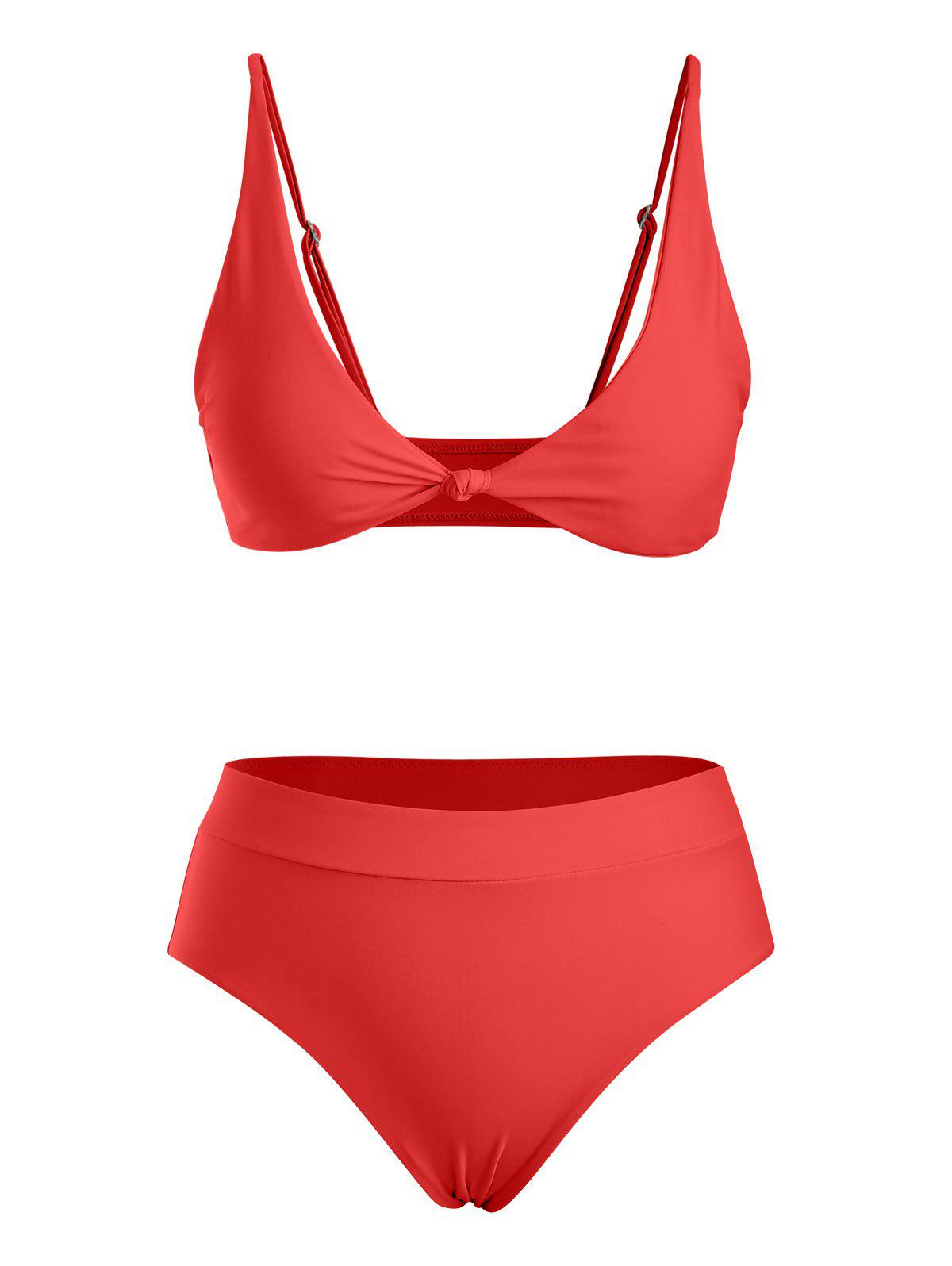 High Waist Front Knot Bikini Swimwear - RED M