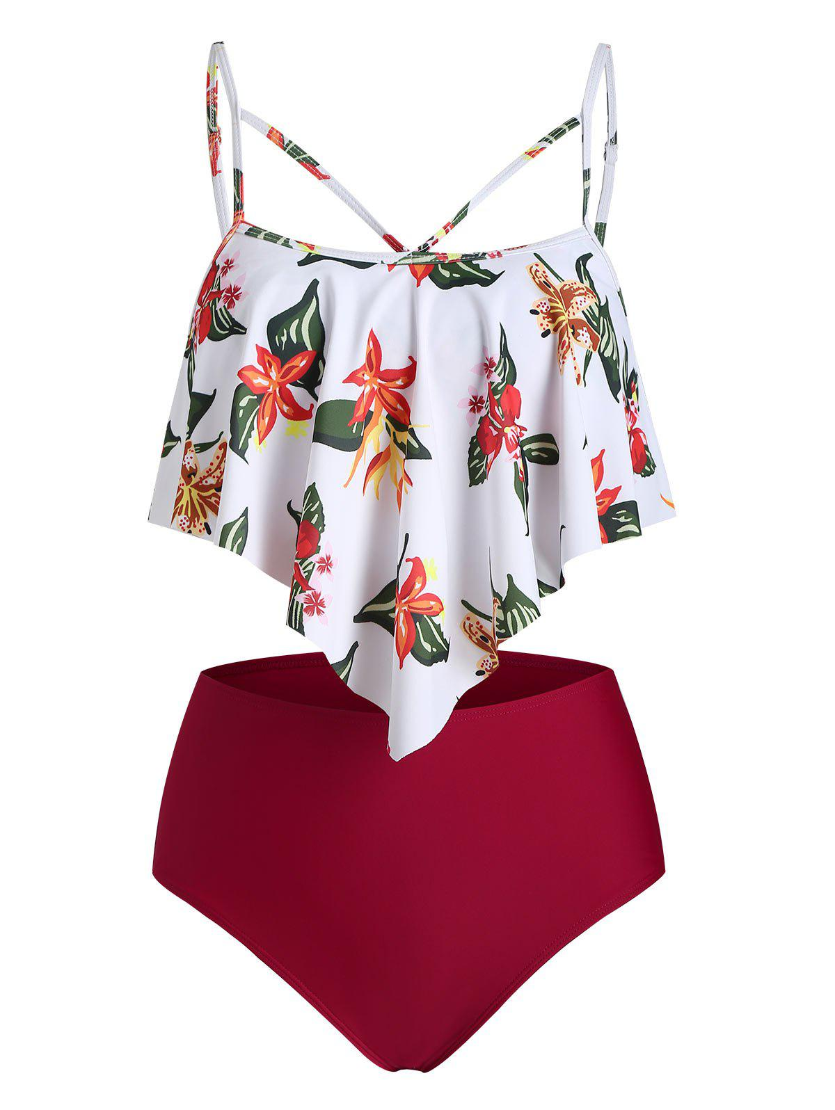 Floral Print Criss Cross Ruffle Overlay Tankini Swimsuit - DEEP RED L
