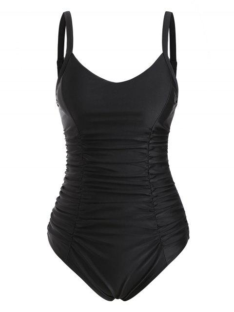 Ruched Tummy Control Ladder Cut One-piece Swimsuit
