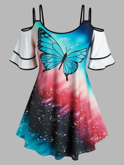 Plus Size Cold Shoulder Butterfly Print Tee