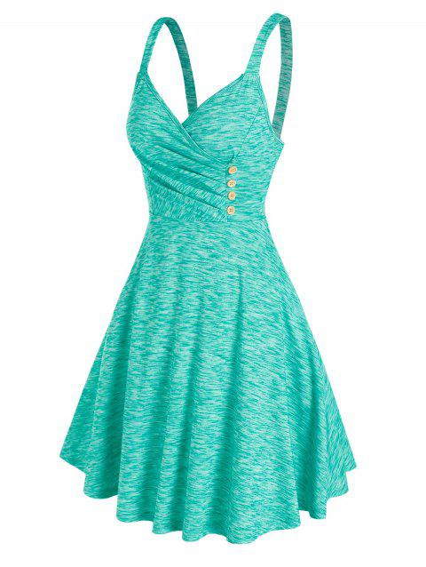 Pleated Buttons Fit And Flare Dress