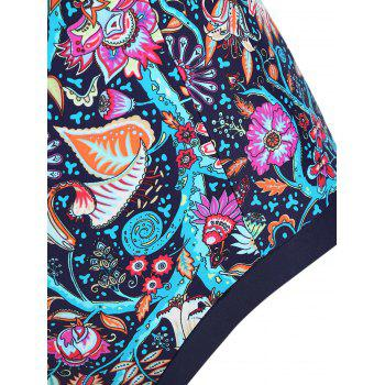 Bohemian Printed Halter Tie Front One-piece Swimsuit