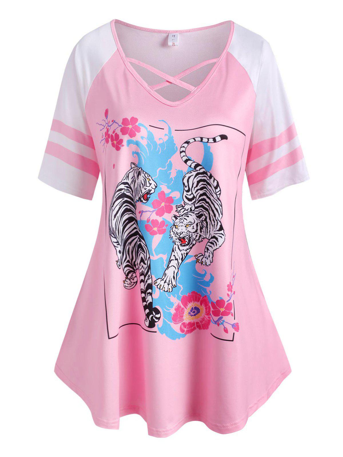 Plus Size Flower Tiger Print Criss Cross Tunic Tee - LIGHT PINK 5X