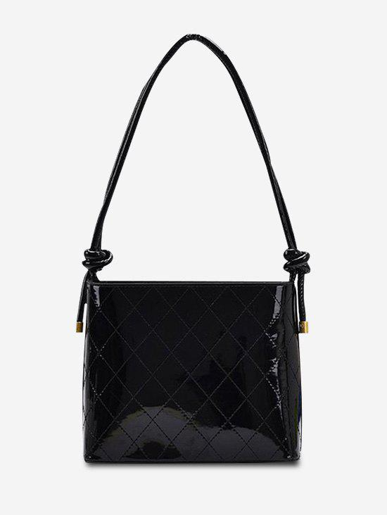 Rhombus Stitching Knot Strap Shoulder Bag - BLACK