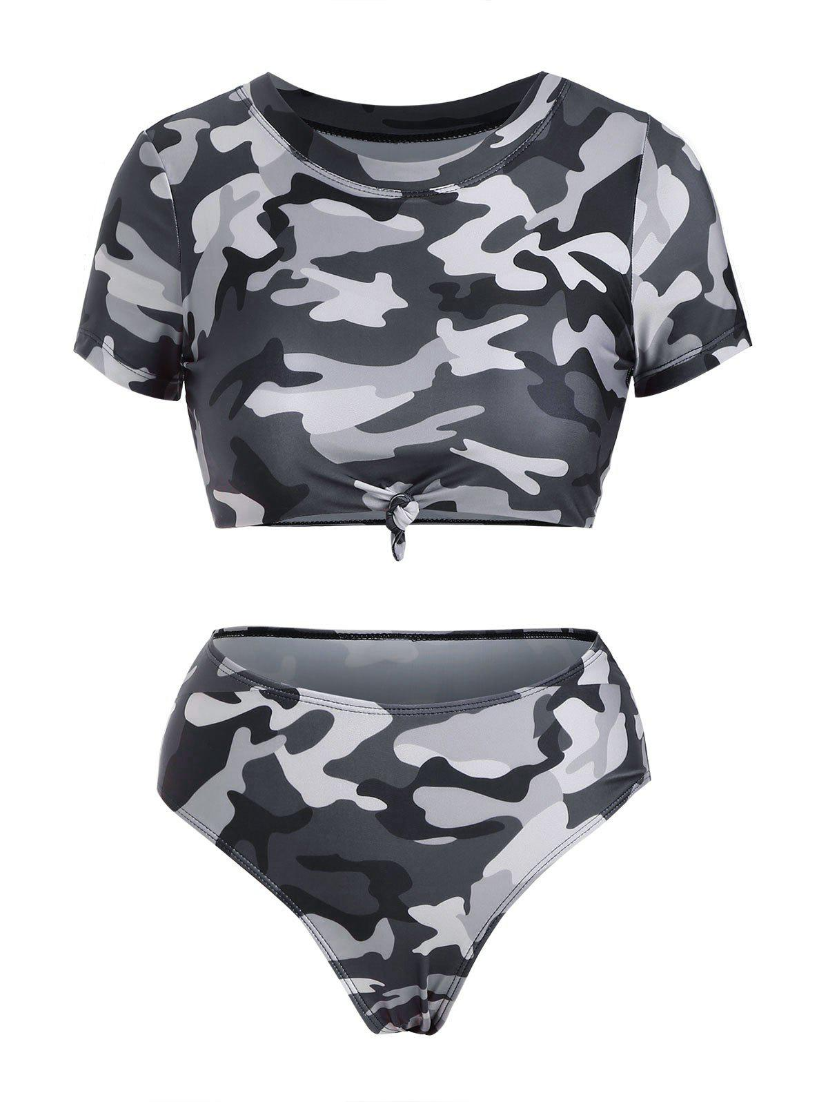 Camouflage Knotted Cropped High Waisted Bikini Swimwear - DARK GRAY S