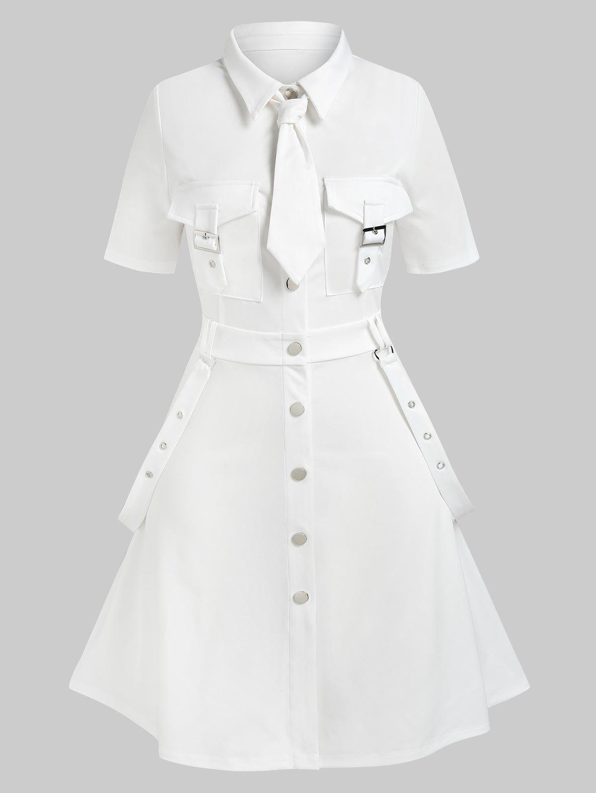 Plus Size Buckles Eyelash Cargo Dress - WHITE 4X