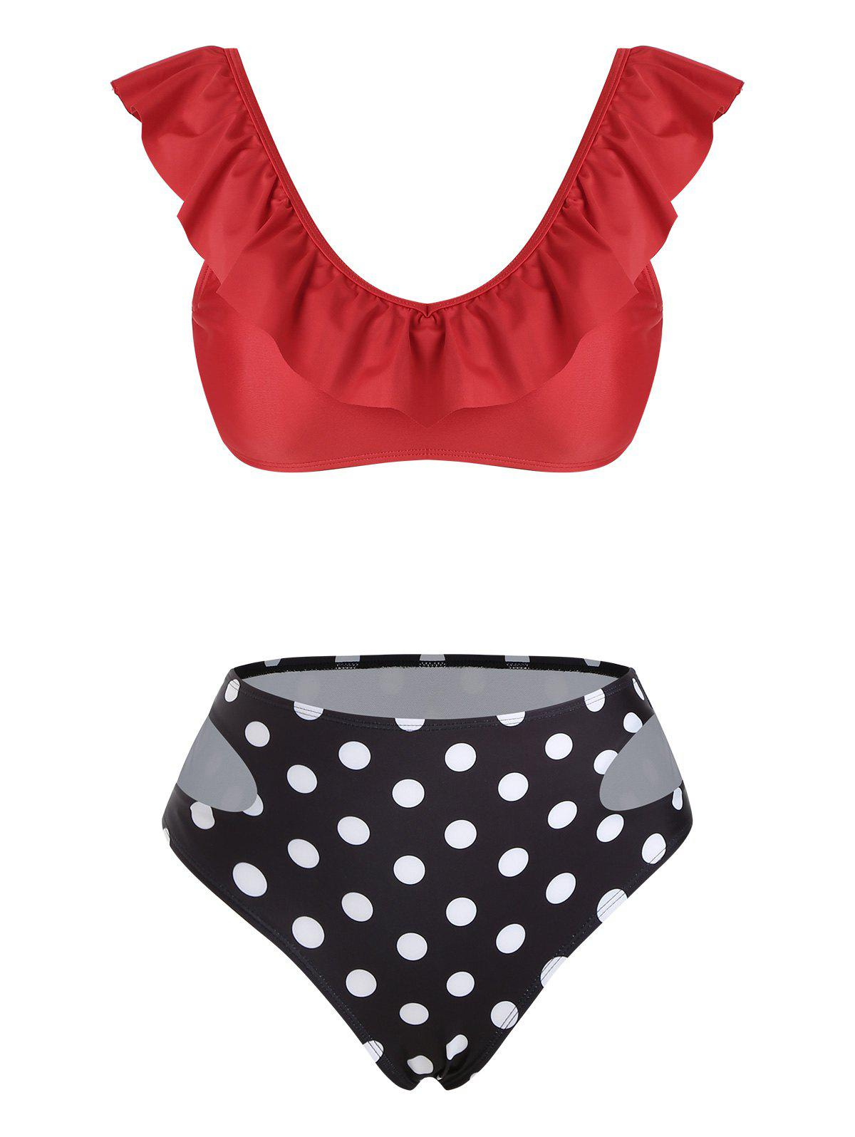 Polka Dot Ruffles Cut Out Bikini Swimwear - RED M