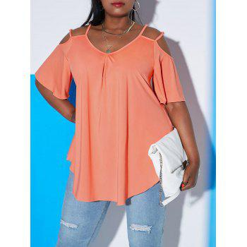Plus Size Dual Strap Open Shoulder Tunic Tee