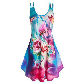 Plus Size Multicolored Flower Printed Dress