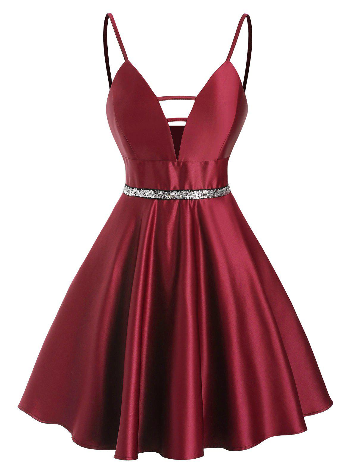Sequined Ladder Cut Plunge Party Dress - DEEP RED M