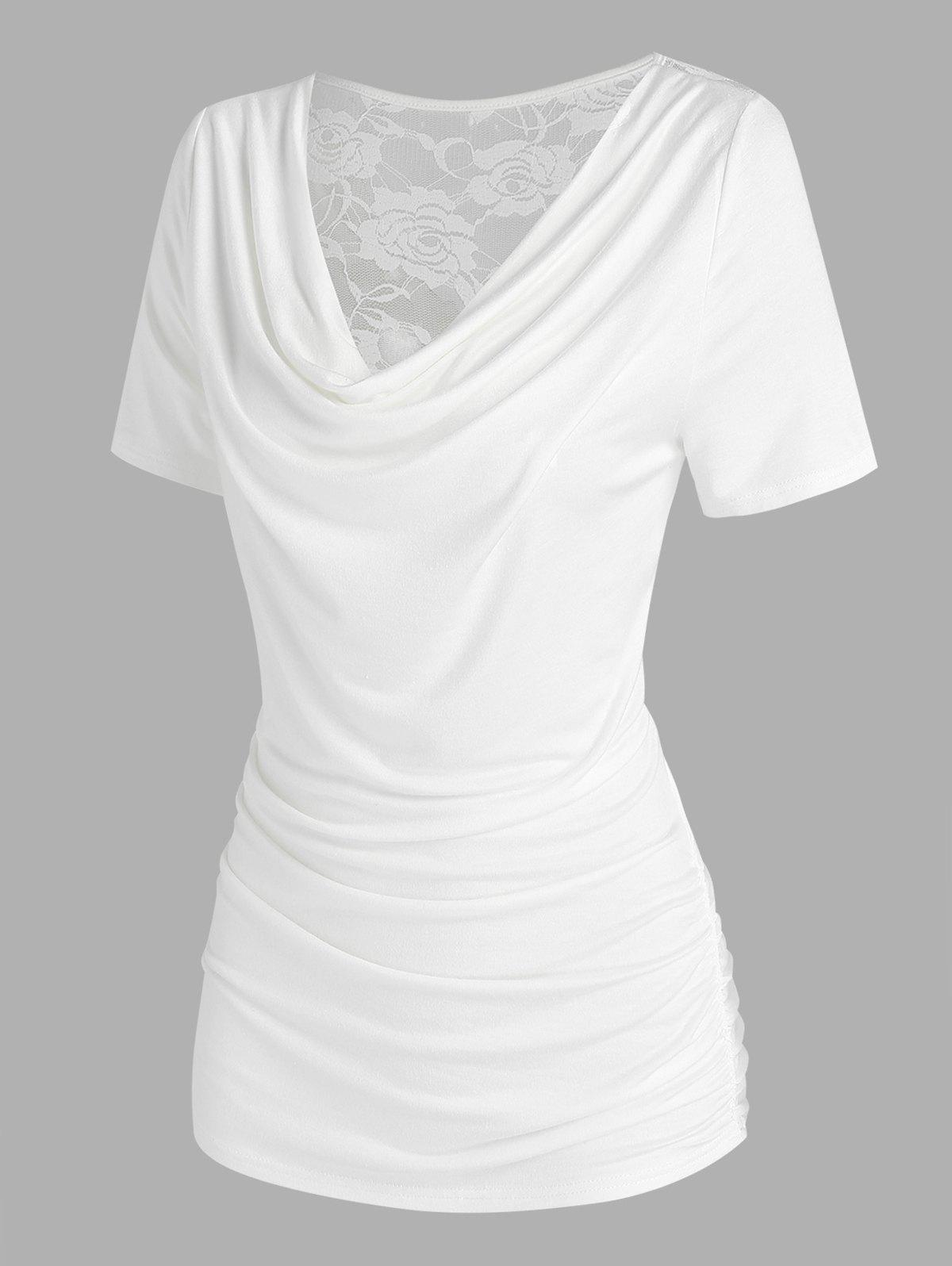 Lace Panel Cowl Neck Ruched T Shirt - WHITE M