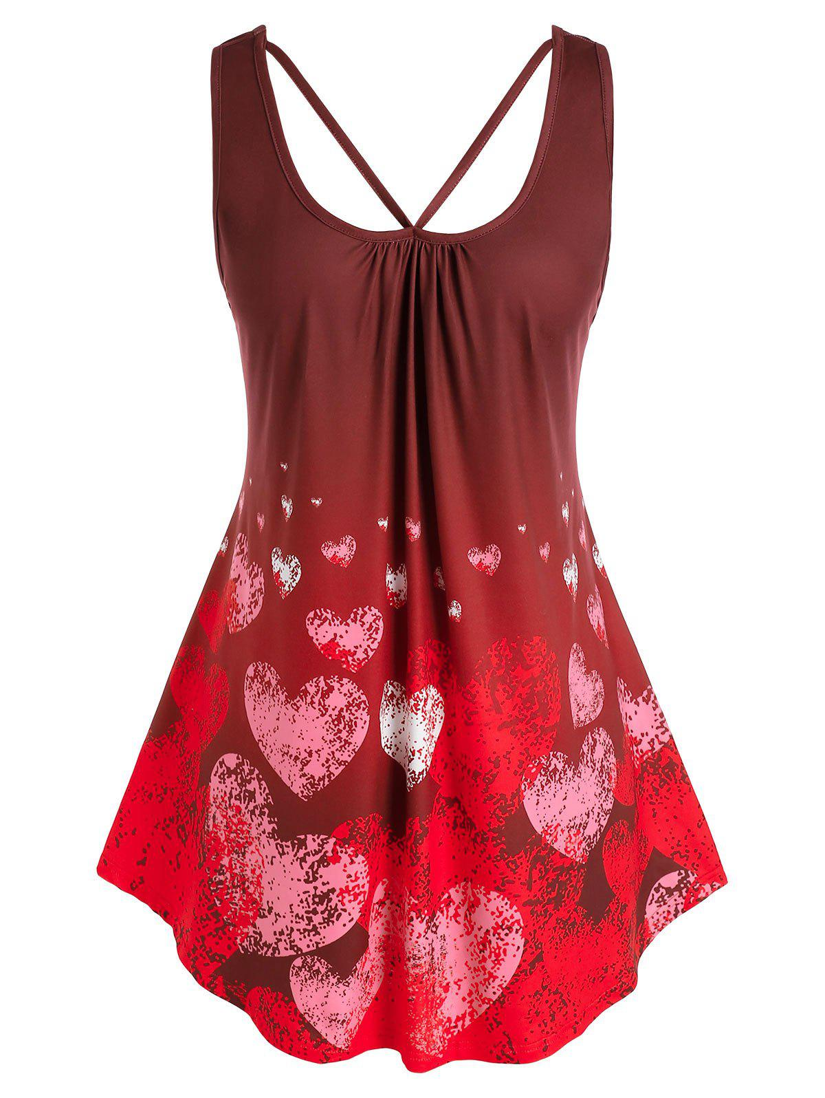 Plus Size Heart Print Valentine Tank Top - RED 3X