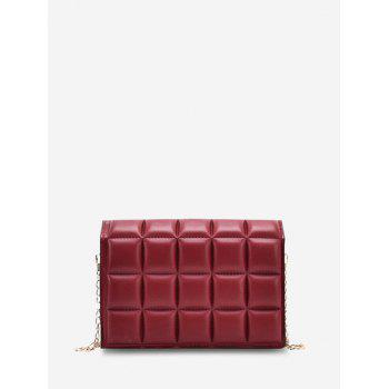 Soft Chocolate-Quilted Flap Chain Crossbody Bag - LAVA RED