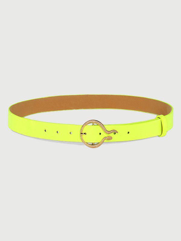 Fluorescent Carved Golden Snake Buckle Belt - TEA GREEN