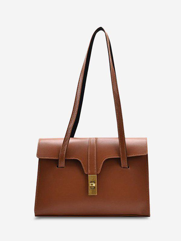 Smooth Double Strap Large Shoulder Bag - DEEP BROWN