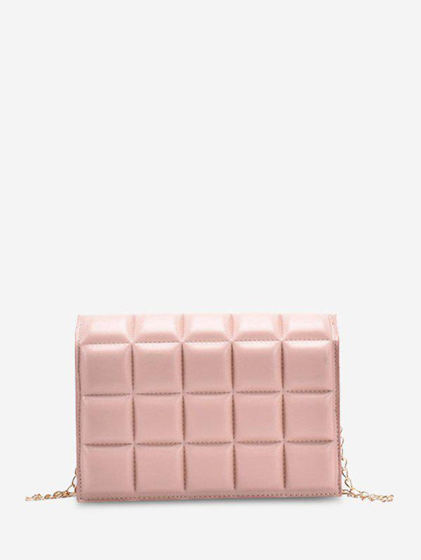 Soft Chocolate-Quilted Flap Chain Crossbody Bag - PINK