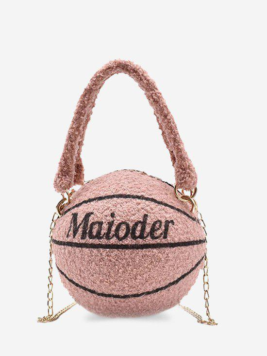 Sac à Bandoulière en Forme de Basketball à Double Sangle en Laine - ROSE PÂLE
