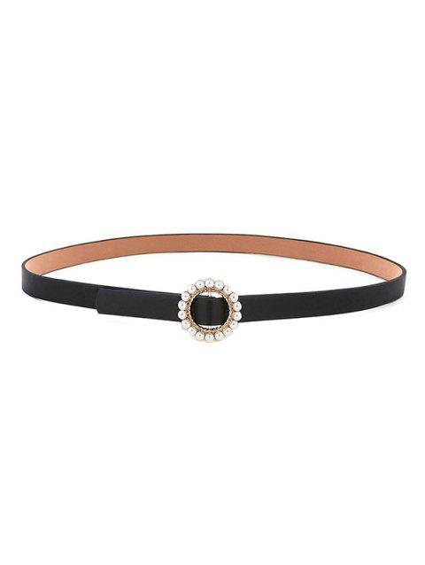 Faux Pearl Inlaid Round Buckle Belt