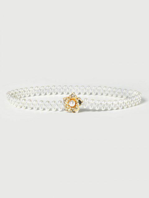Floral Buckle Stretch Faux Pearl Beaded Belt