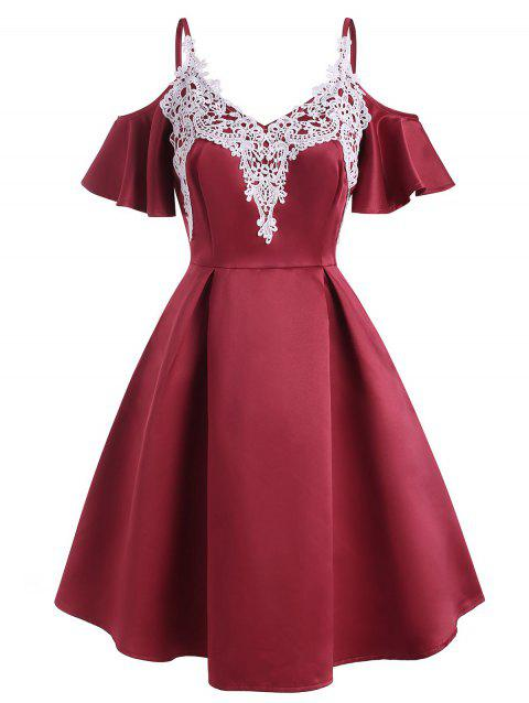 Guipure Lace Applique Butterfly Sleeve Open Shoulder Dress