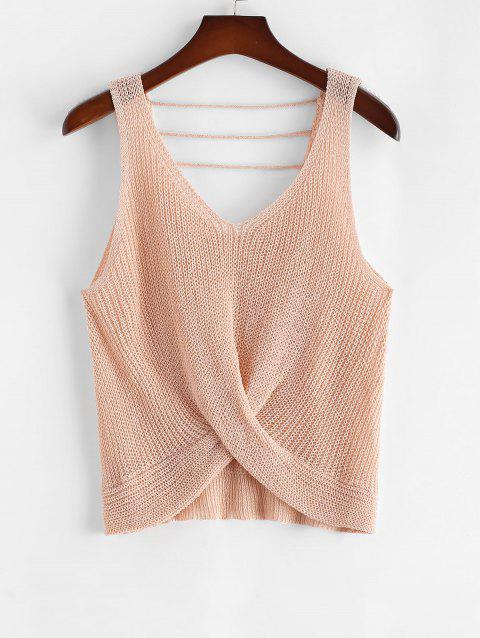 Plus Size V Neck Twist Front Strappy Sweater Vest