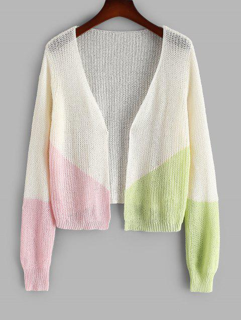 Plus Size Open Colorblock Cardigan