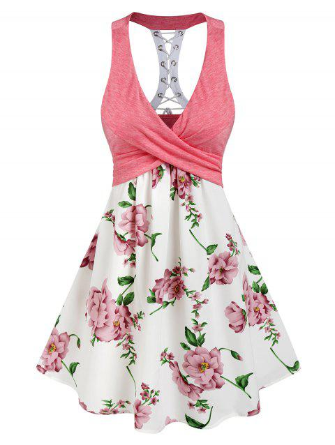 Sleeveless Lace-up Flower Print Crossover Dress