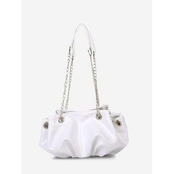Pleated Chain Strap Shoulder Bag - CRYSTAL CREAM