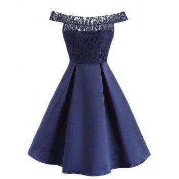 Off The Shoulder Lace Panel Ball Gown Dress