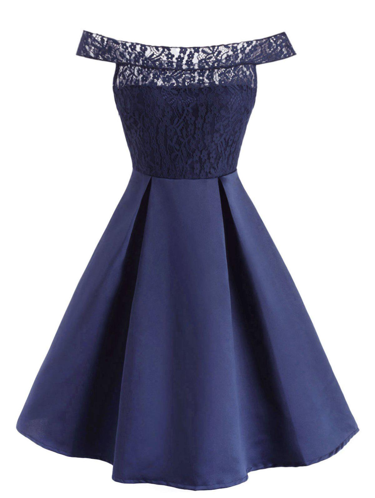 Off The Shoulder Lace Panel Ball Gown Dress - DEEP BLUE M