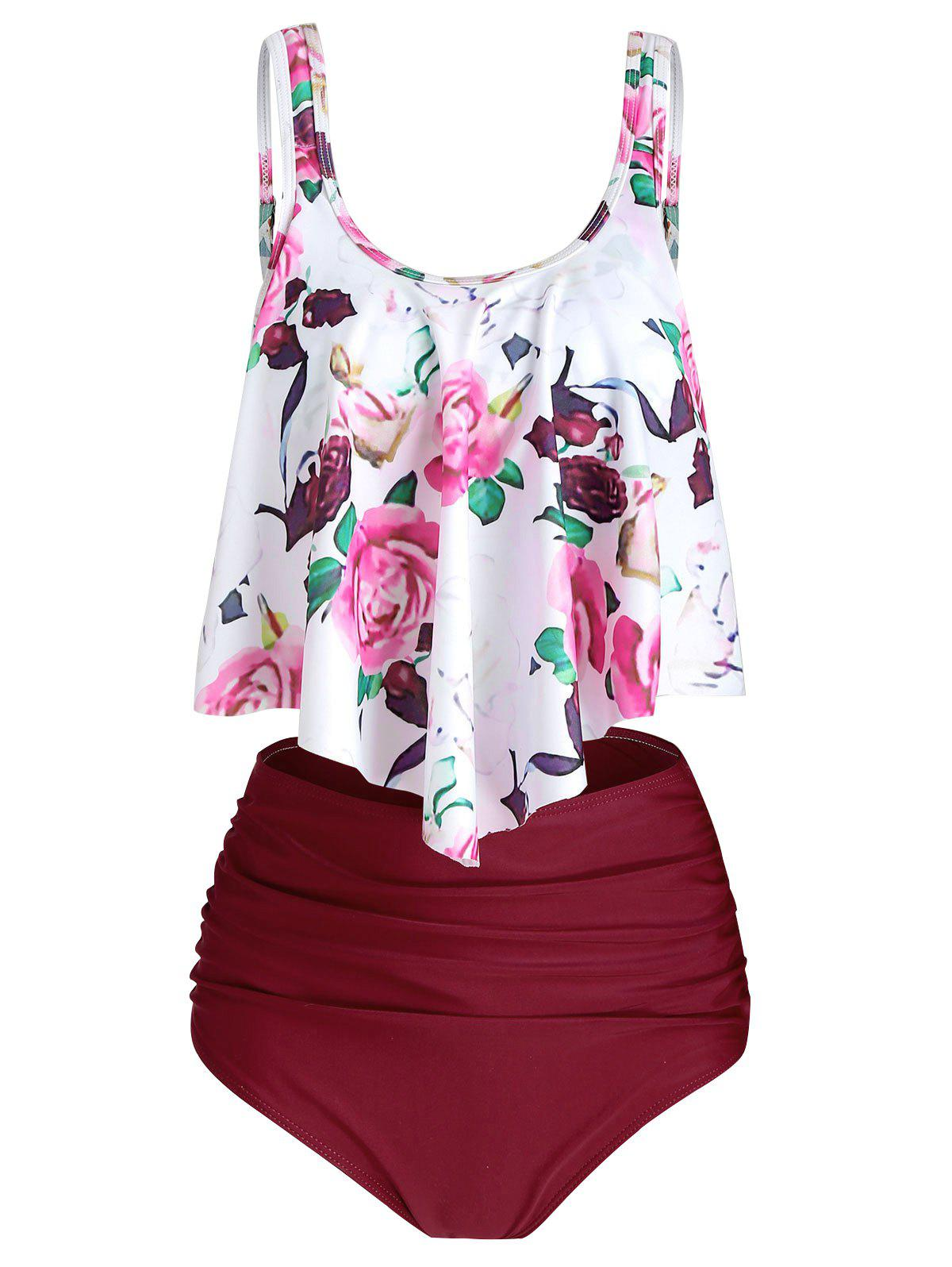 Floral Printed Overlay Tankini Set - RED WINE 2XL