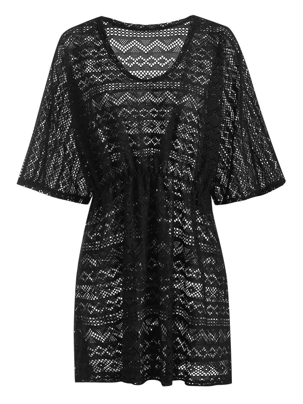 Hollow Out Waisted Pullover Beach Cover Up - BLACK ONE SIZE