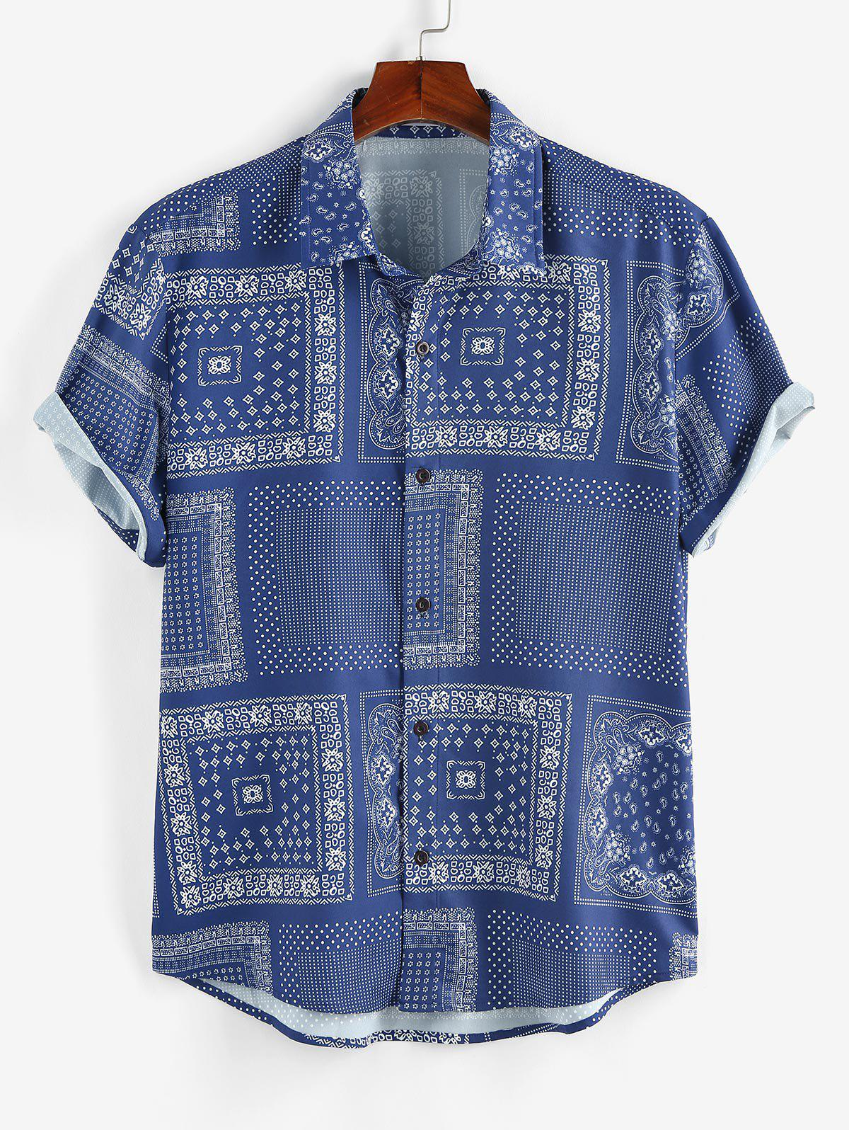 Scarf Print Short Sleeve Shirt - BLUE L