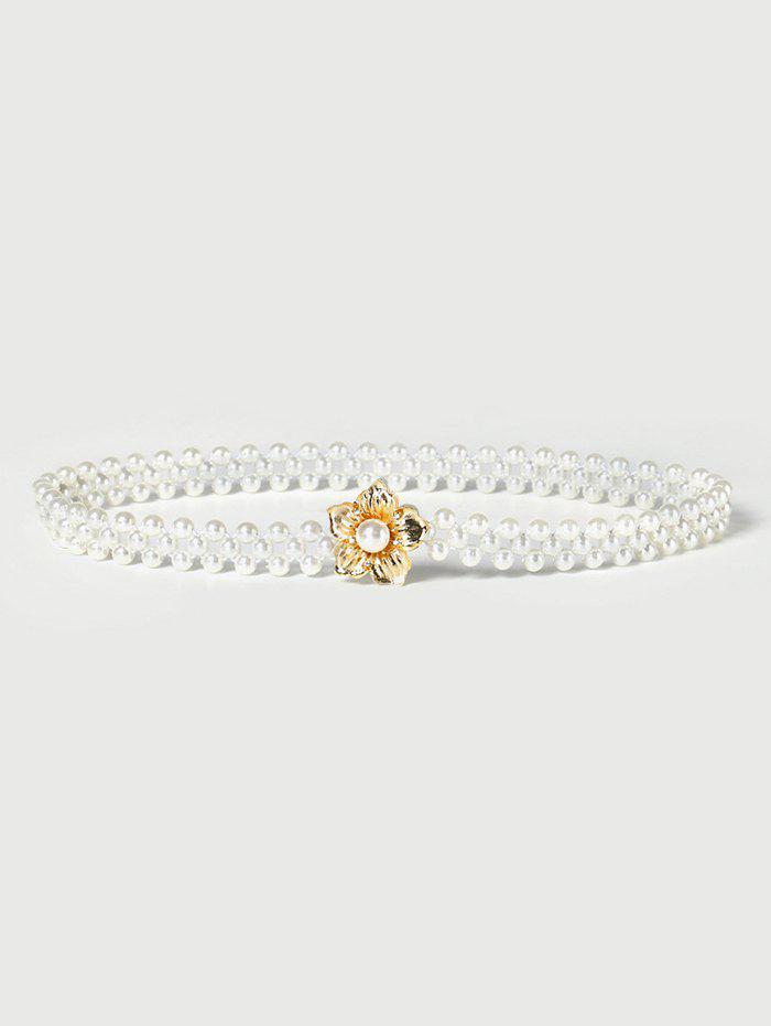 Floral Buckle Stretch Faux Pearl Beaded Belt - MILK WHITE