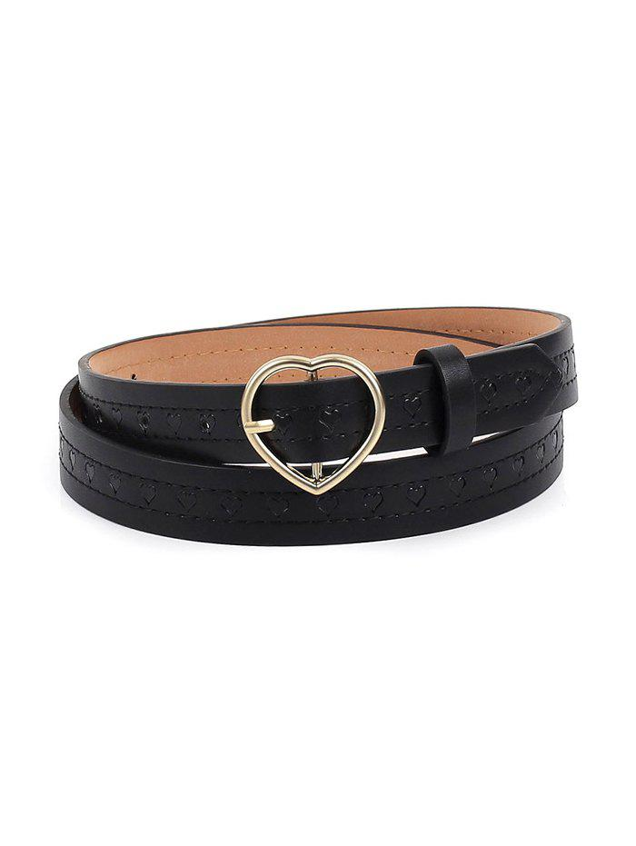 Embossed Heart Shape Pin Buckle Belt - BLACK