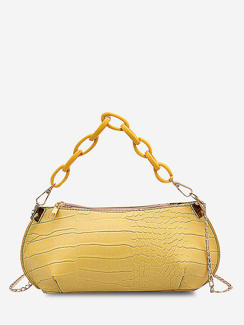 Solid Textured Chains Handbag - SUN YELLOW