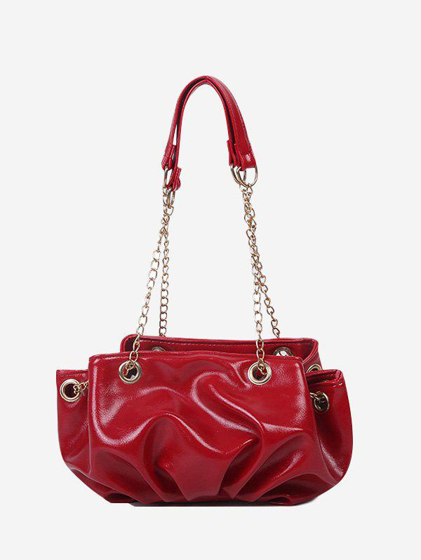 Pleated Chain Strap Shoulder Bag - ROSE RED