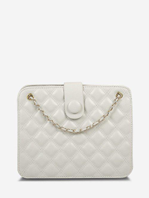 Quilted Chain-Trimmed Strap Square Shoulder Bag - WARM WHITE