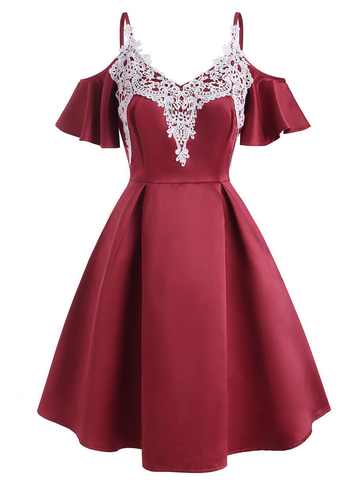 Guipure Lace Applique Butterfly Sleeve Open Shoulder Dress - RED L