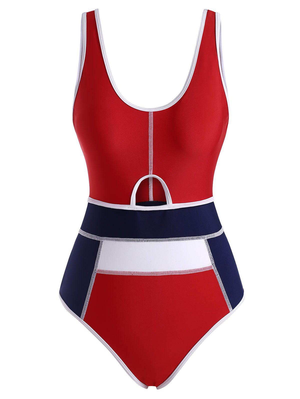 Binding Color Blocking High Cut Topstitch One-piece Swimsuit - multicolor XL