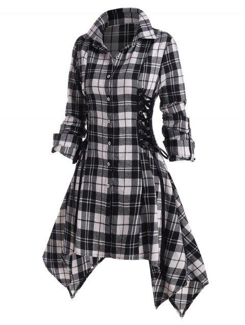 Plaid Lace Up Rolled Up Sleeve Handkerchief Shirt Dress