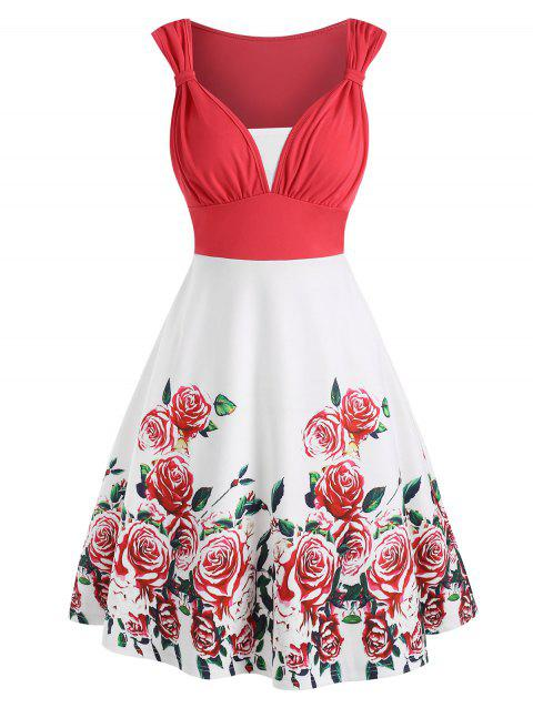 Flower Print Colorblock Knotted Sleeveless Dress