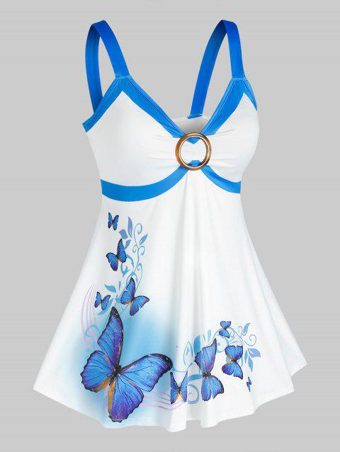 Plus Size O Ring Butterfly Print Tank Top