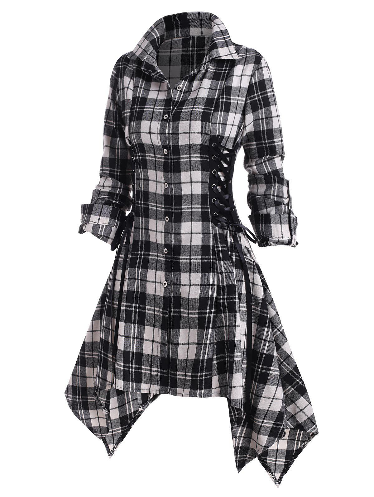 Plaid Lace Up Rolled Up Sleeve Handkerchief Shirt Dress - WHITE M
