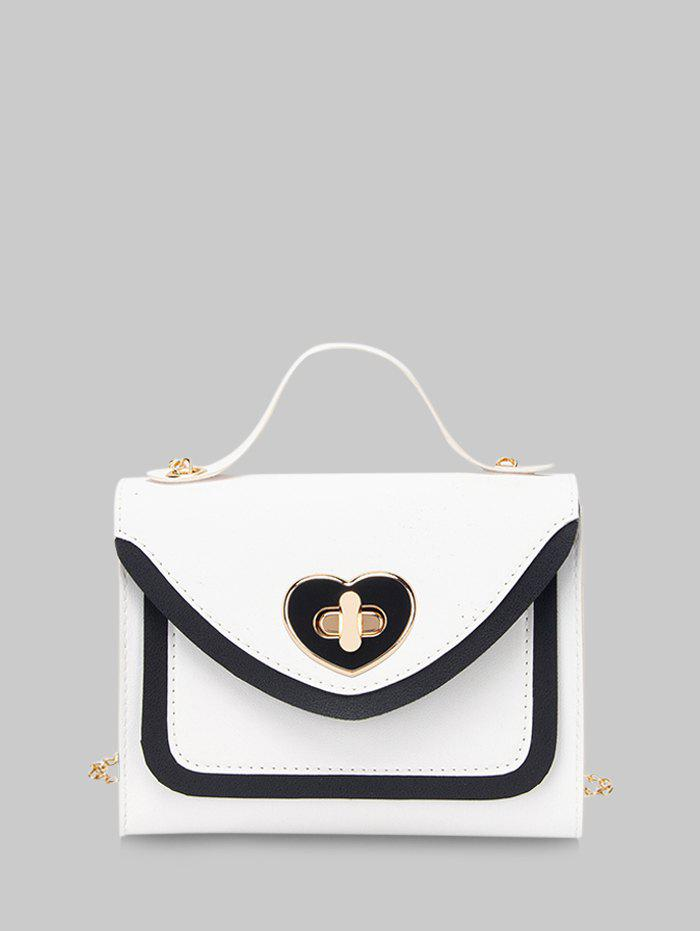 Heart Shape Colorblock Hasp Chain Handbag - WHITE